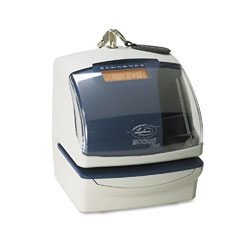 Lathem 5000EP 5000E Plus Electronic Time Recorder/Document Stamp/Numbering Machine, Cool Gray