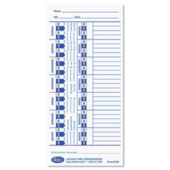 Lathem time - universal time card, white, 100/pack, sold as 1 pk