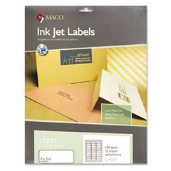 MAC IJ-4000 Matte Clear Address Labels, 1 X 2 5/8, 750/Pack