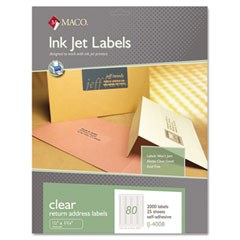 MAC IJ-4008 Matte Clear Address Labels, 1/2 X 1 3/4, 2000/Pack
