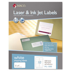 MAC ML-1000 White All-Purpose Labels, 2 X 4, 1000/Box