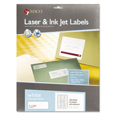 MAC ML3025 White All-Purpose Labels, 1 X 2-5/8, 750/Box