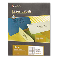MAC ML-4000 Matte Clear Laser Labels, 1 X 2-5/8, 1500/Box