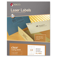 MAC ML-4002 Matte Clear Laser Labels, 1 1/3 X 4 1/4, 700/Box