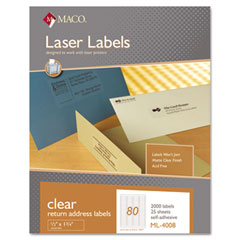 MAC ML-4008 Matte Clear Laser Labels, 1/2 X 1 3/4, 2000/Box