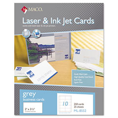 MAC ML-8552 Microperforated Business Cards, 2 X 3 1/2, Gray, 250/Box
