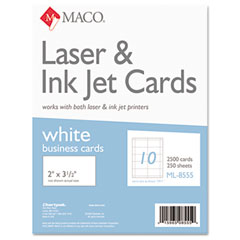 MAC ML-8555 Microperforated Business Cards, 2 X 3 1/2, White, 2500/Box