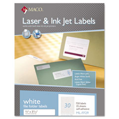 MAC ML-FF29 File Folder Labels, 2/3 X 3 7/16, White, 750/Box