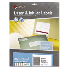 MAC MLFF30 File Folder Labels, 2/3 X 3-7/16, Assorted, 750/Box