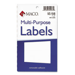 MAC MS-1648 Multipurpose Self-Adhesive Removable Labels, 1 X 3, White, 250/Pack