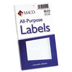 MAC MS-610 Multipurpose Self-Adhesive Removable Labels, 3/8 X 5/8, White, 1000/Pack