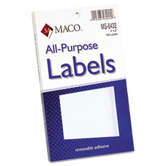 MAC MS-6432 Multipurpose Self-Adhesive Removable Labels, 2 X 4, White, 120/Pack