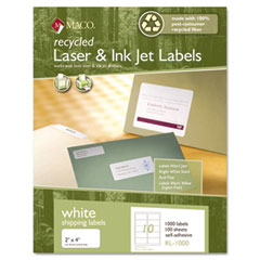MAC RL-0100 Recycled Laser And Inkjet Labels, 8-1/2 X 11, White, 100/Box