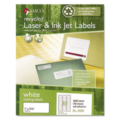 MAC RL-3000 Recycled Laser And Inkjet Labels, 1 X 2-5/8, White, 3000/Box