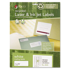 MAC RL-3025 Recycled Laser And Inkjet Labels, 1 X 2-5/8, White, 750/Box