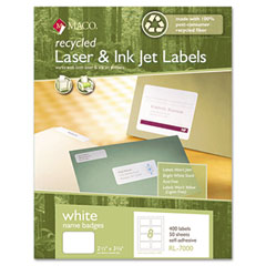 MAC RL-7000 Recycled Name Badge Labels, 3-3/8 X 2-1/3, White, 400/Box