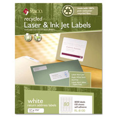 MAC RL-8100 Recycled Laser And Inkjet Labels, 1/2 X 1-3/4, White, 8000/Box