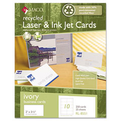 MAC RL-8551 Recycled Laser/Inkjet Business Cards, Ivory, 2 X 3 1/2, 250/Box