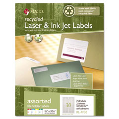 MAC RL-FF30 Recycled Laser And Inkjet Labels, 2/3 X 3 7/16, Assorted, 750/Pack