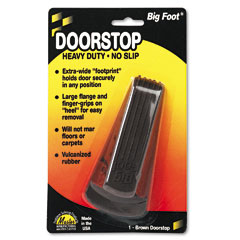 Master caster - big foot doorstop, no-slip rubber wedge, 2-1/4w x 4-3/4d x 1-1/4h, brown, sold as 1 ea