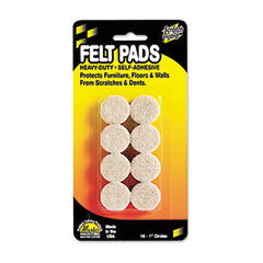 Master caster - scratch guard self-stick felt pads, 1 diameter, 16 circles/pack, sold as 1 pk