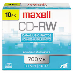 Maxell - cd-rw discs, 700mb/80min, 4x, silver, 10/pack, sold as 1 pk
