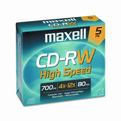 Maxell 630025 Cd-Rw Discs, 700Mb/80Min, 12X, W/Jewel Cases, Gold, 5/Pack
