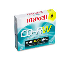 Maxell 630030 Cd-Rw Discs, 700Mb/80Min, 4X, W/Slim Jewel Cases, Silver, 3/Pack