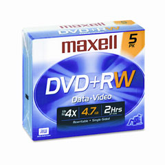 Maxell - dvd+rw discs, 4.7gb, 4x, w/jewel cases, silver, 5/pack, sold as 1 pk