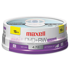 Maxell - dvd+rw discs, 4.7gb, 4x, spindle, silver, 15/pack, sold as 1 pk