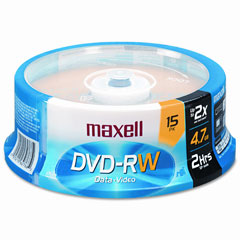 Maxell - dvd-rw discs, 4.7gb, 2x, spindle, gold, 15/pack, sold as 1 pk