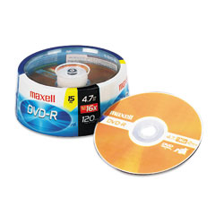 Maxell - dvd-r discs, 4.7gb, 16x, spindle, gold, 15/pack, sold as 1 pk