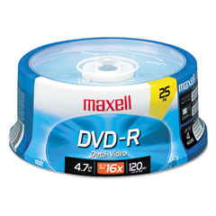 Maxell - dvd-r discs, 4.7gb, 16x, spindle, gold, 25/pack, sold as 1 pk