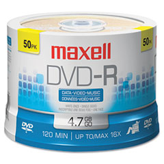 Maxell - dvd-r discs, 4.7gb, 16x, spindle, gold, 50/pack, sold as 1 pk