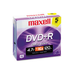 Maxell - dvd+r discs, 4.7gb, 16x, w/jewel cases, silver, 5/pack, sold as 1 pk