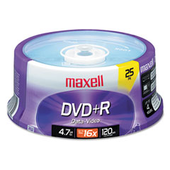 Maxell - dvd+r discs, 4.7gb, 16x, spindle, silver, 25/pack, sold as 1 pk