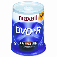 Maxell - dvd+r discs, 4.7gb, 16x, spindle, silver, 100/pack, sold as 1 pk