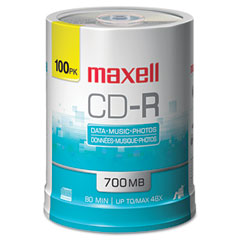 Maxell 648200 Cd-R Discs, 700Mb/80Min, 48X, Spindle, Silver, 100/Pack