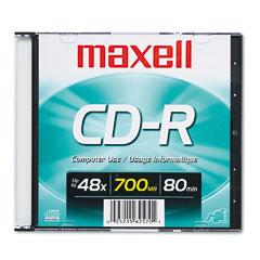 Maxell - cd-r disc, 700mb/80min, 48x, w/slim jewel case, silver, sold as 1 ea