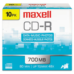 Maxell 648210 Cd-R Discs, 700Mb/80Min, 48X, W/Slim Jewel Cases, Silver, 10/Pack