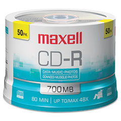 Maxell 648250 Cd-R Discs, 700Mb/80Min, 48X, Spindle, Silver, 50/Pack