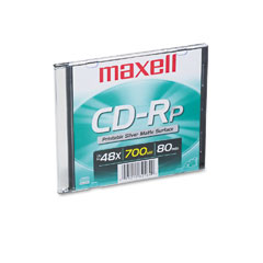 Maxell 648711 Cd-R Disc, 700Mb/80Min, 48X, W/Slim Jewel Case, Printable Matte Silver