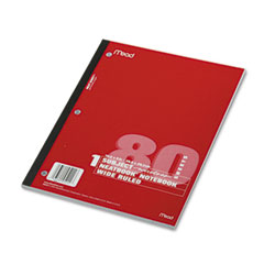 Mead 05222 Single Subject Notebooks, Wide Margin/Rule, 8 X 10-1/2, We, 80 Sheets/Pad