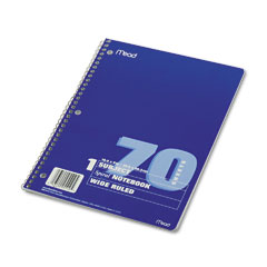 Mead 05510 Spiral Bound Notebook, Wide/Margin Rule, 8X10-1/2, White,1 Subject 70 Sheets/Pad