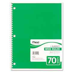 Mead - spiral bound notebook, wide/margin rule, 8x10-1/2, white,1 subject 70 sheets/pad, sold as 1 ea