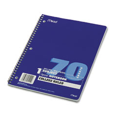 Mead 05512 Spiral Bound Notebook, College Rule, 8 X 10-1/2, White, 1 Subject 70 Sheets/Pad