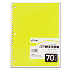 Mead - spiral bound notebook, college rule, 8 x 10-1/2, white, 1 subject 70 sheets/pad, sold as 1 ea