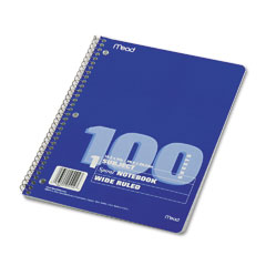 Mead 05514 Spiral Bound Notebook, Wide/Margin Rule,10-1/2X8,White,1 Subject 100 Sheets/Pad