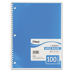 Mead - spiral bound notebook, wide/margin rule, 8x10-1/2,white,1 subject 100 sheets/pad, sold as 1 ea