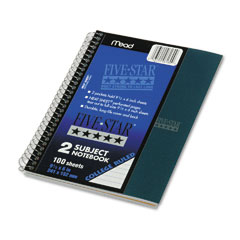 Five star - wirebound notebook, college rule, perforated, 6 x 9-1/2, 2 subject 100 sheets, sold as 1 ea
